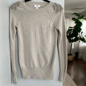 Loft Gray Sweater with Embellished Sequin Details